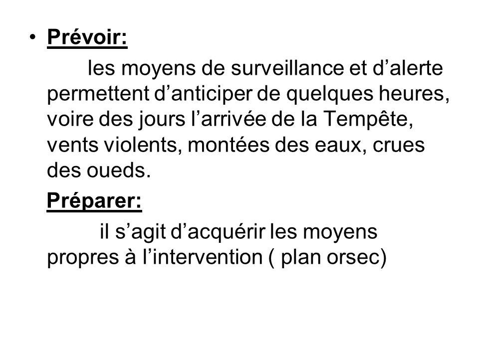 Prévoir: les moyens de surveillance et d'alerte permettent d'anticiper de quelques heures, voire des jours l'arrivée de la Tempête, vents violents, mo