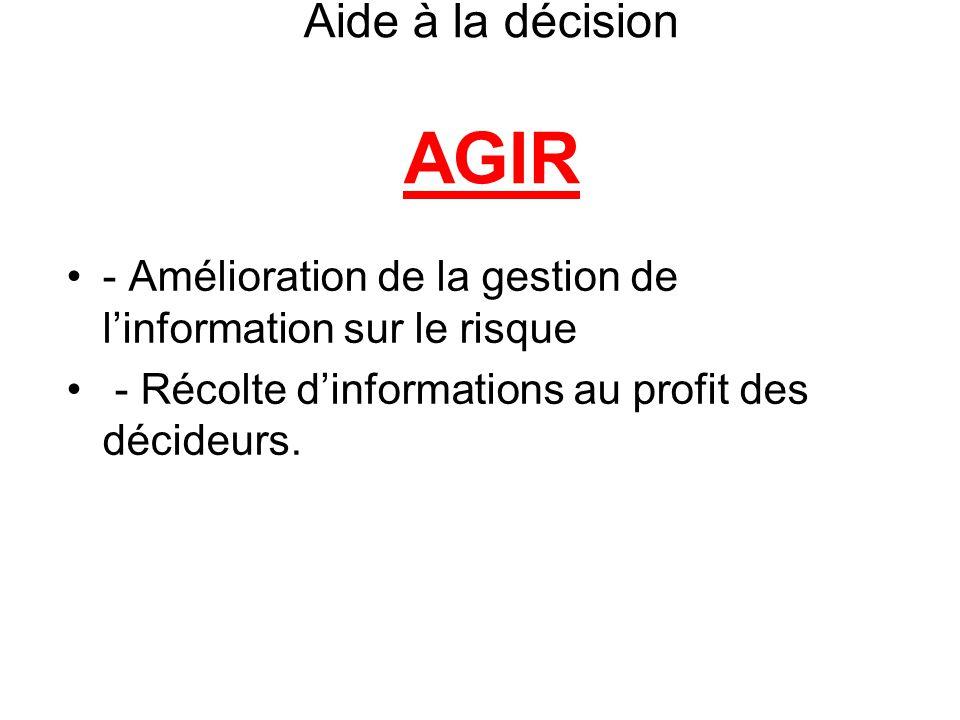 Aide à la décision AGIR - Amélioration de la gestion de l'information sur le risque - Récolte d'informations au profit des décideurs.