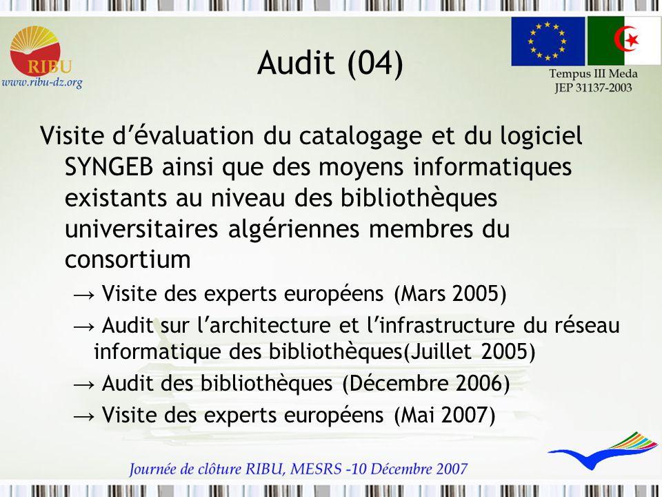 Audit (04) Visite d 'é valuation du catalogage et du logiciel SYNGEB ainsi que des moyens informatiques existants au niveau des biblioth è ques univer