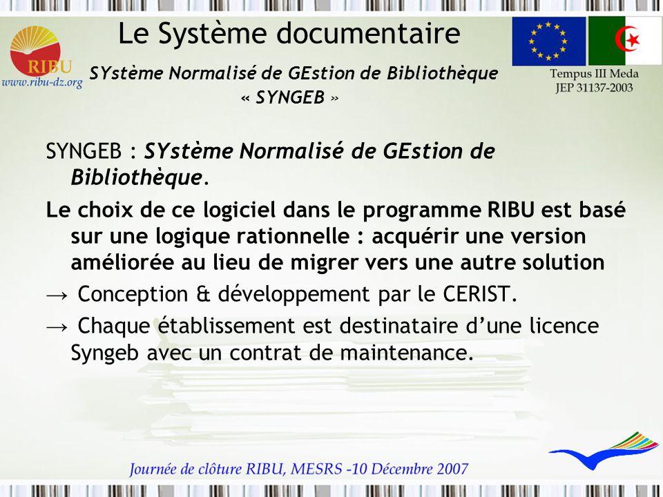Le Système documentaire SYstème Normalisé de GEstion de Bibliothèque « SYNGEB » SYNGEB : SYstème Normalisé de GEstion de Bibliothèque. Le choix de ce