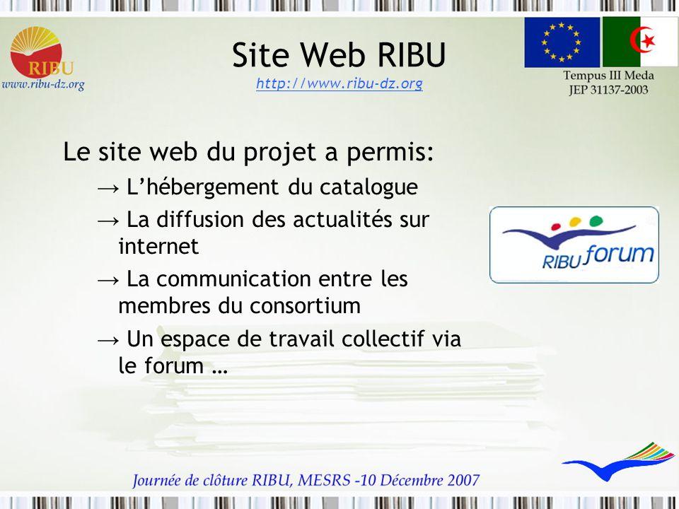 Site Web RIBU http://www.ribu-dz.org Le site web du projet a permis: → L'hébergement du catalogue → La diffusion des actualités sur internet → La comm
