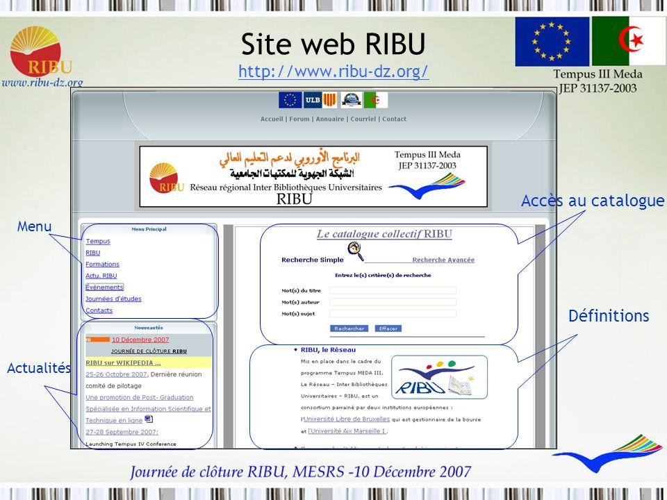 Site web RIBU http://www.ribu-dz.org/ Accès au catalogue Définitions Actualités Menu