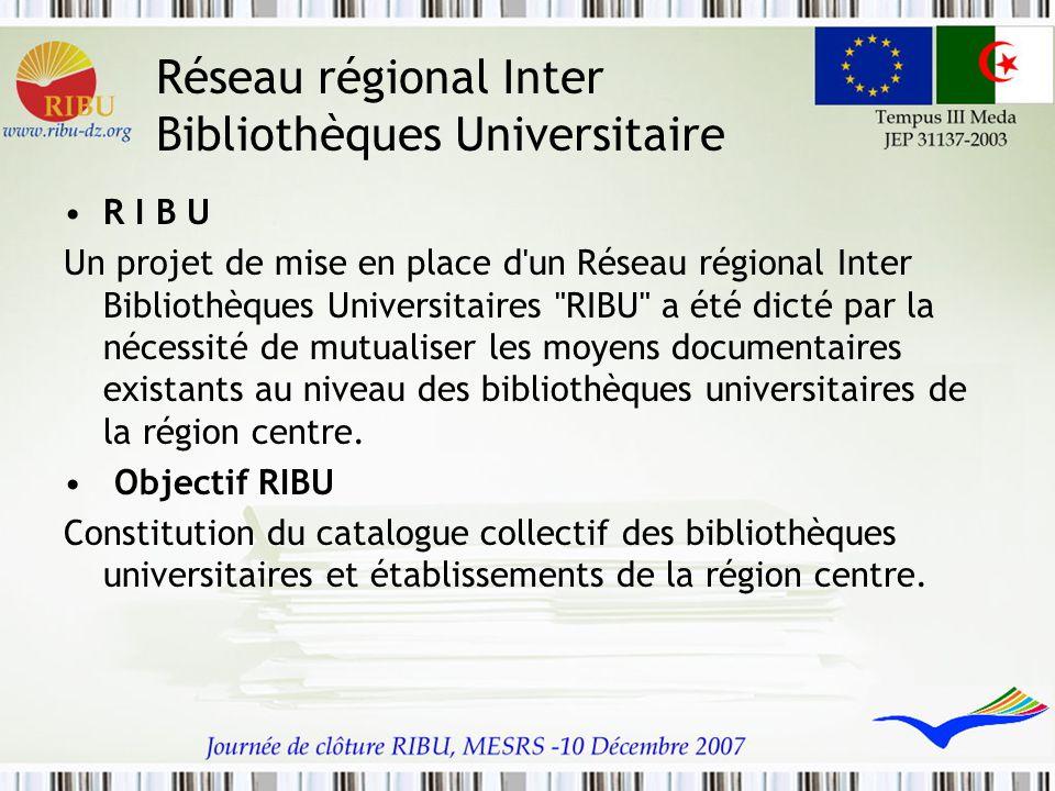 Réseau régional Inter Bibliothèques Universitaire R I B U Un projet de mise en place d'un Réseau régional Inter Bibliothèques Universitaires