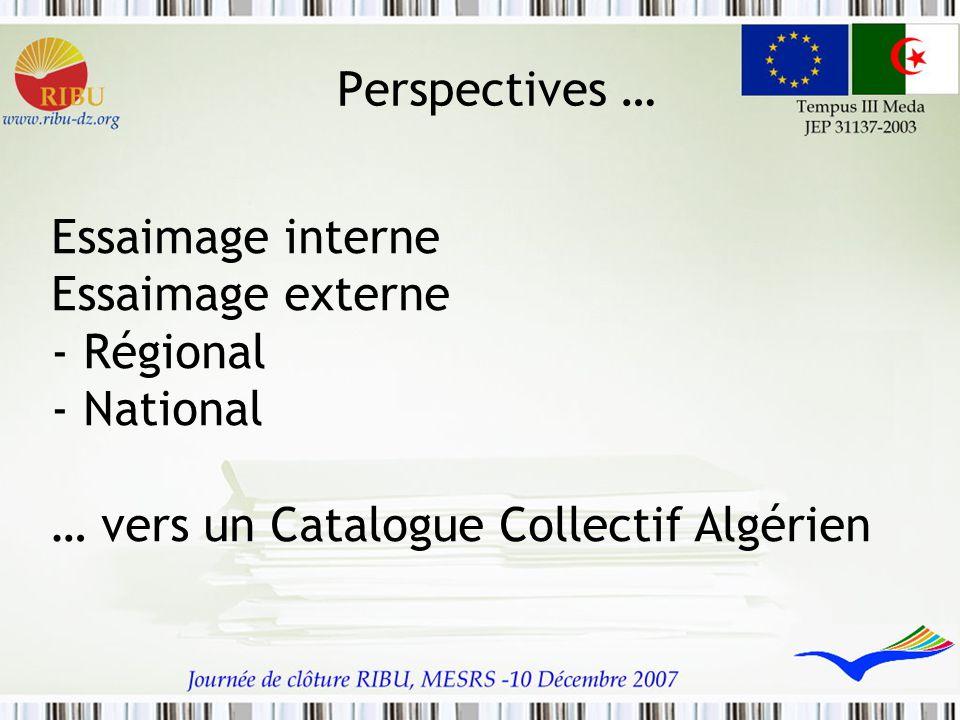 Perspectives … Essaimage interne Essaimage externe - Régional - National … vers un Catalogue Collectif Algérien