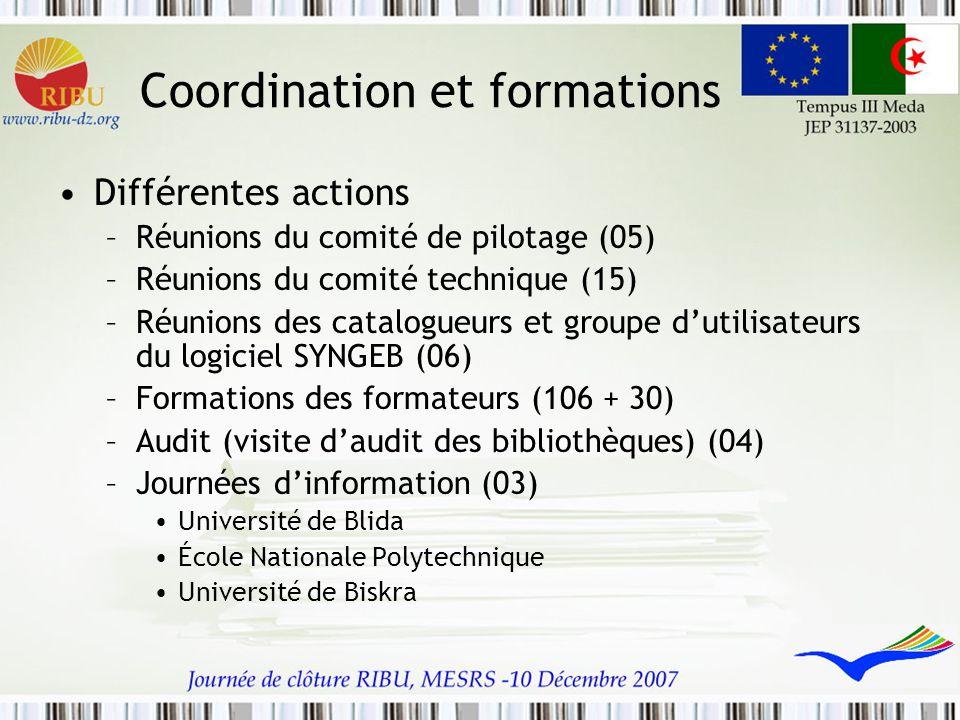 Coordination et formations Différentes actions –Réunions du comité de pilotage (05) –Réunions du comité technique (15) –Réunions des catalogueurs et g