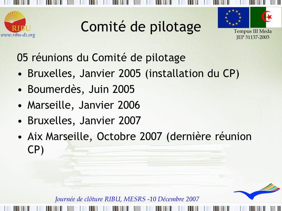 Comité de pilotage 05 réunions du Comité de pilotage Bruxelles, Janvier 2005 (installation du CP) Boumerdès, Juin 2005 Marseille, Janvier 2006 Bruxell