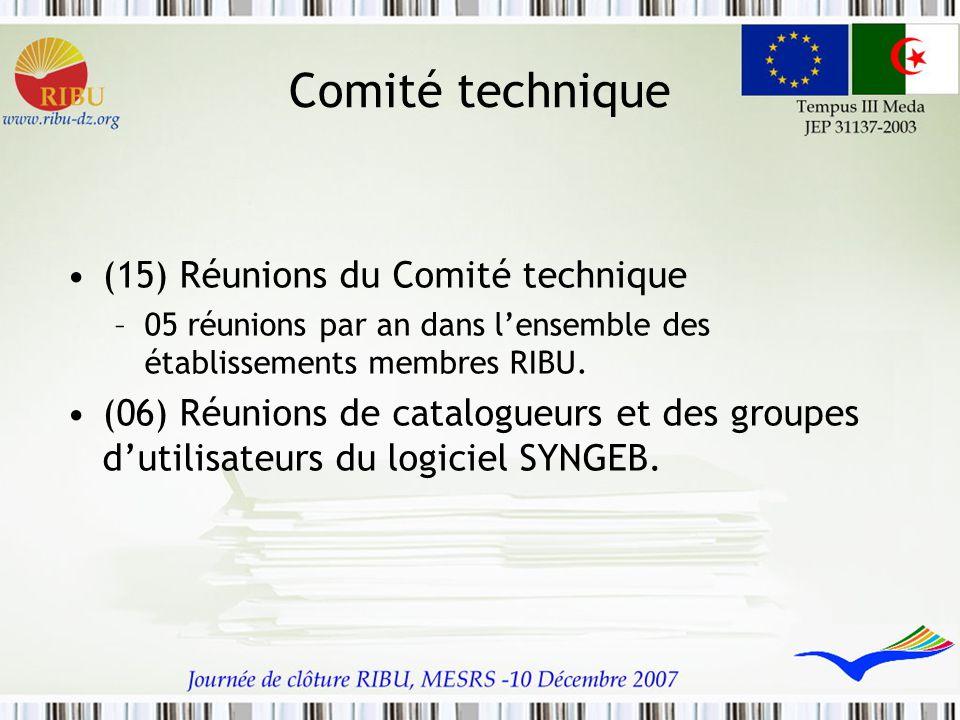 Comité technique (15) Réunions du Comité technique –05 réunions par an dans l'ensemble des établissements membres RIBU. (06) Réunions de catalogueurs