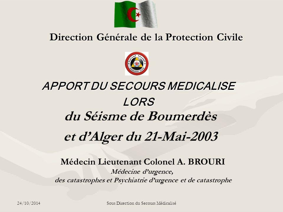 24/10/2014Sous Direction du Secours Médicalisé T 0 + 1 h 45mn 21 h 3021 h 30 - PMA opérationnel, -Tri et mise en condition des blessés par les médecins avant leur évacuation vers les hôpitaux proches de l'autoroute ( Zmirli, HCA, BenAknoun, Beni Messous, Birtraria, Zeralda, Koléa…..), permettant de soulager les UMC de Boumerdès.