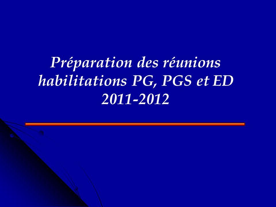 Préparation des réunions habilitations PG, PGS et ED 2011-2012