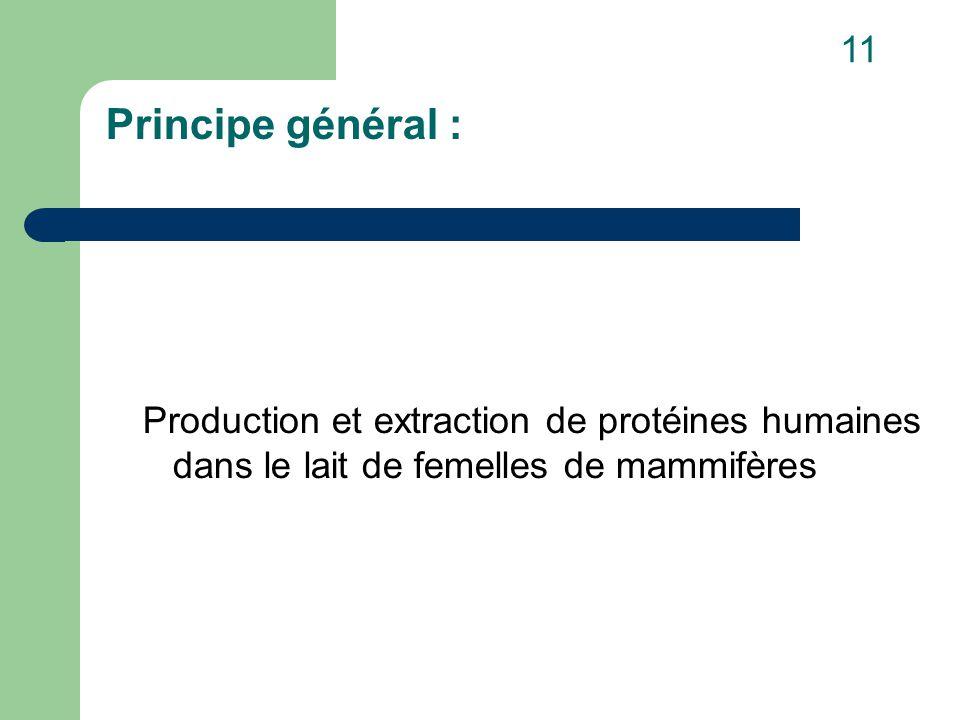 Principe général : Production et extraction de protéines humaines dans le lait de femelles de mammifères 11