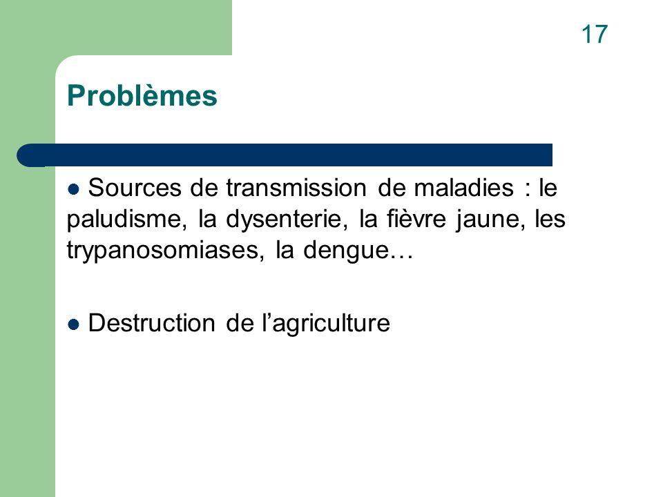 Problèmes Sources de transmission de maladies : le paludisme, la dysenterie, la fièvre jaune, les trypanosomiases, la dengue… Destruction de l'agriculture 17