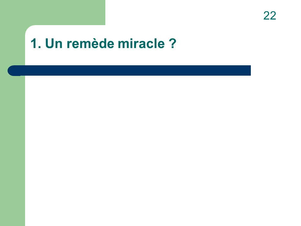 1. Un remède miracle 22