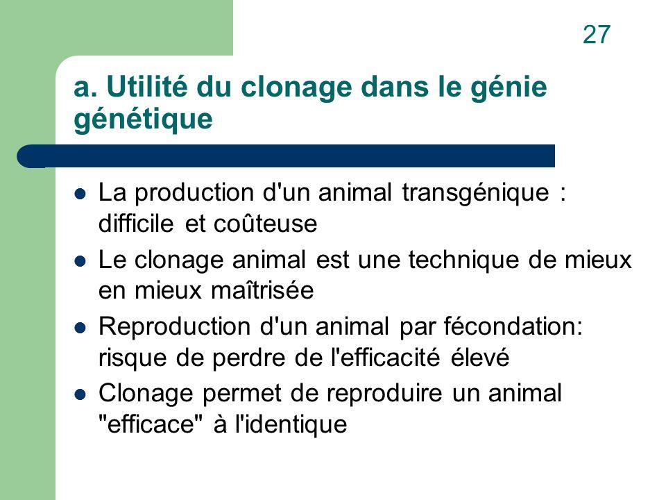 a. Utilité du clonage dans le génie génétique La production d'un animal transgénique : difficile et coûteuse Le clonage animal est une technique de mi