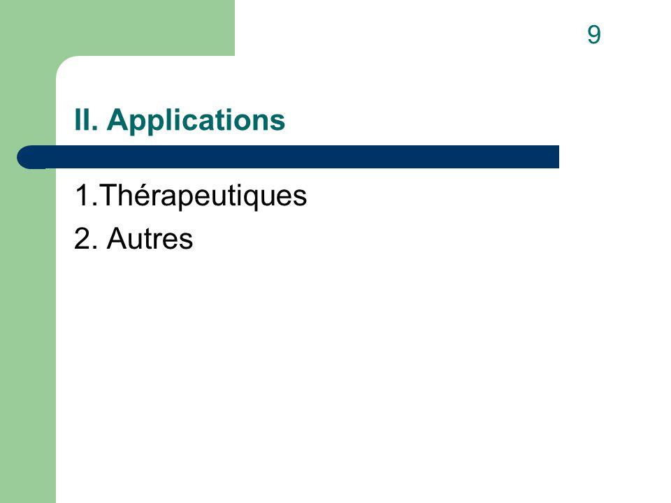 II. Applications 1.Thérapeutiques 2. Autres 9