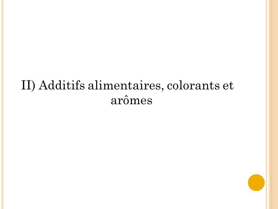 II) Additifs alimentaires, colorants et arômes