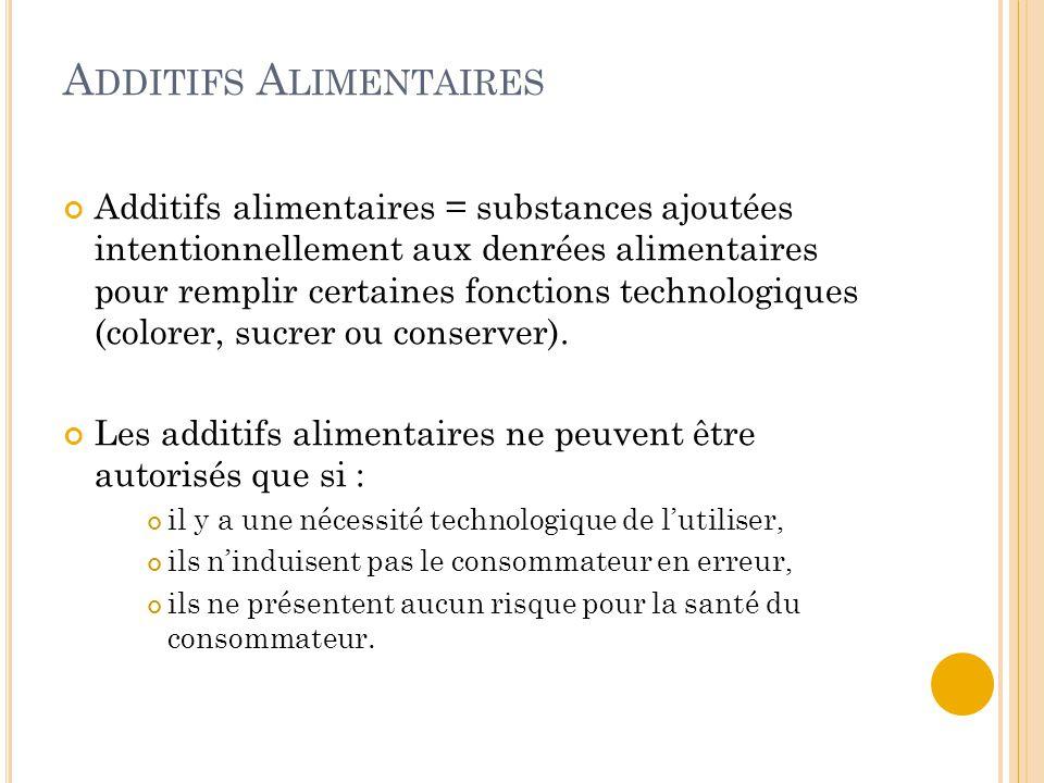 A DDITIFS A LIMENTAIRES Additifs alimentaires = substances ajoutées intentionnellement aux denrées alimentaires pour remplir certaines fonctions technologiques (colorer, sucrer ou conserver).