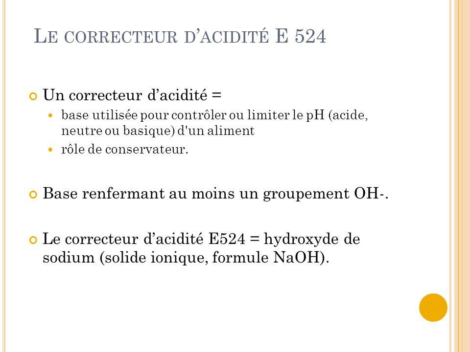 L E CORRECTEUR D ' ACIDITÉ E 524 Un correcteur d'acidité = base utilisée pour contrôler ou limiter le pH (acide, neutre ou basique) d un aliment rôle de conservateur.