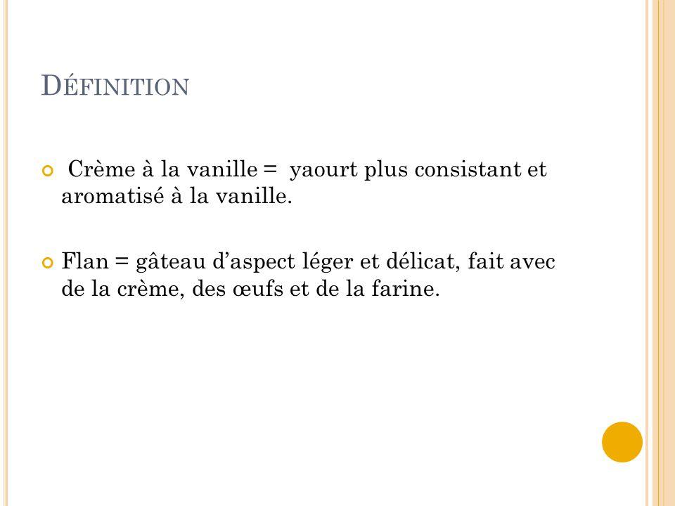 D ÉFINITION Crème à la vanille = yaourt plus consistant et aromatisé à la vanille. Flan = gâteau d'aspect léger et délicat, fait avec de la crème, des