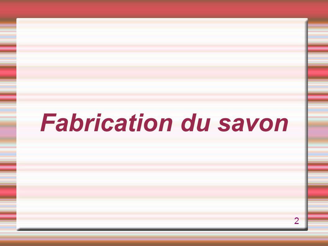 Saponification Savon : corps gras + soude (ou potassium) Saponification : corps gras hydrolysé par une base à une température entre 80 et 100°C.