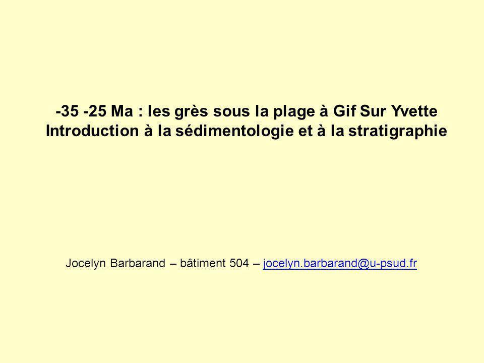 -35 -25 Ma : les grès sous la plage à Gif Sur Yvette Introduction à la sédimentologie et à la stratigraphie Jocelyn Barbarand – bâtiment 504 – jocelyn