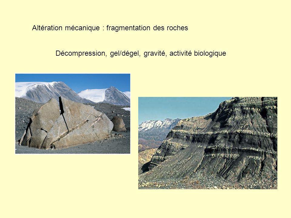 Altération mécanique : fragmentation des roches Décompression, gel/dégel, gravité, activité biologique