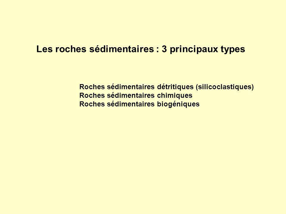 Roches sédimentaires détritiques (silicoclastiques) Roches sédimentaires chimiques Roches sédimentaires biogéniques Les roches sédimentaires : 3 princ