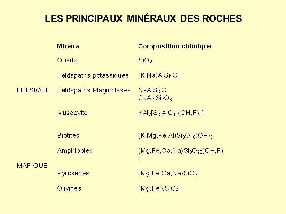 gypse (gypse, CaSO4 · 2H2O) sel gemme (halite, NaCl) chert (minéraux de silice amorphes, SiO 2 ) Roches sédimentaires détritiques Roches sédimentaires chimiques Roches sédimentaires biogéniques