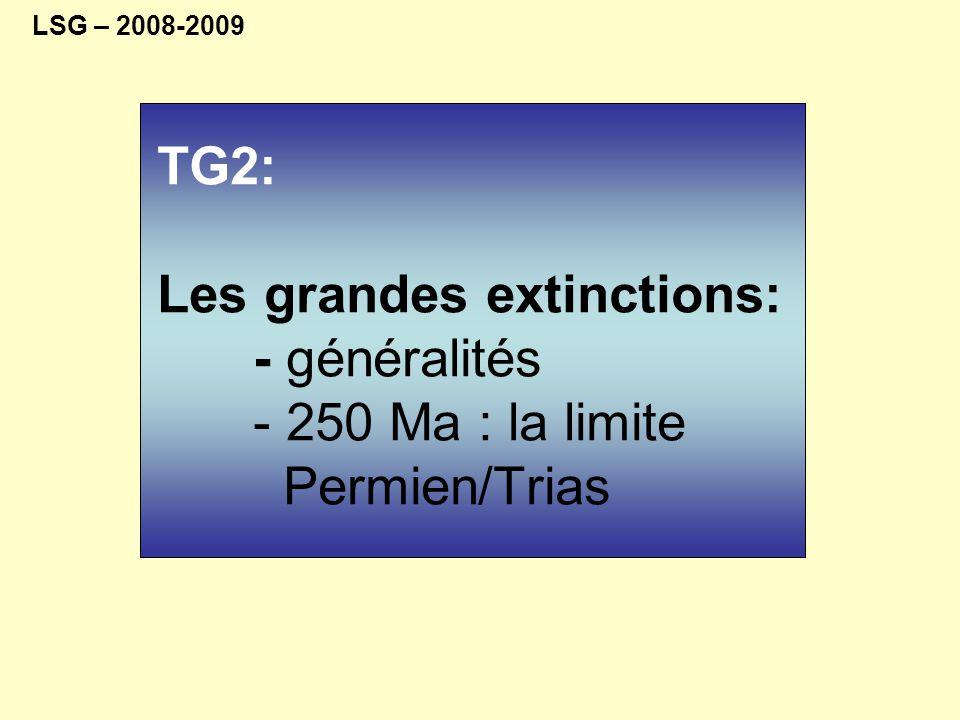 crise biologique importante 4: limite Trias / Jurassique (Tr/J) 5: limite Crétacé / Tertiaire (K/T) 3: limite Permien / Trias (P/Tr) 540Ma -> ≈ 450Ma: forte croissance 450Ma -> 250Ma: palier 250Ma : crise majeure P/T 250Ma ->0: forte croissance 1 2 3 4 5 1: limite Ordovicien / Silurien (O/S) 2: Dévonien supérieur La diversité des espèces