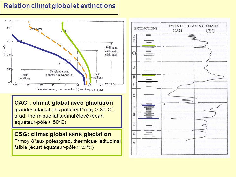 CAG : climat global avec glaciation grandes glaciations polaire(T°moy >-30°C°, grad. thermique latitudinal élevé (écart équateur-pôle > 50°C) CSG: cli
