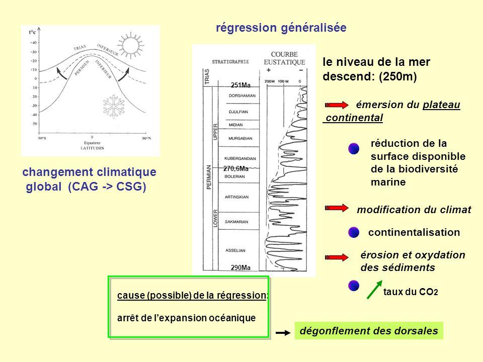 changement climatique global (CAG -> CSG) régression généralisée 251Ma 290Ma 270,6Ma cause (possible) de la régression: arrêt de l'expansion océanique