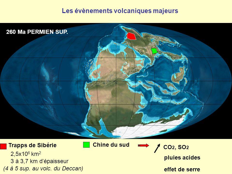 260 Ma PERMIEN SUP. Trapps de Sibérie 2,5x10 6 km 2 3 à 3,7 km d'épaisseur (4 à 5 sup. au volc. du Deccan) Chine du sud CO 2, SO 2 pluies acides effet
