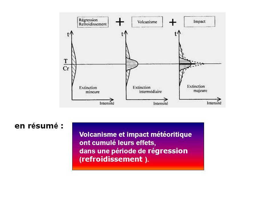 Volcanisme et impact météoritique ont cumulé leurs effets, dans une période de r é gression ( refroidissement ). en r é sum é :