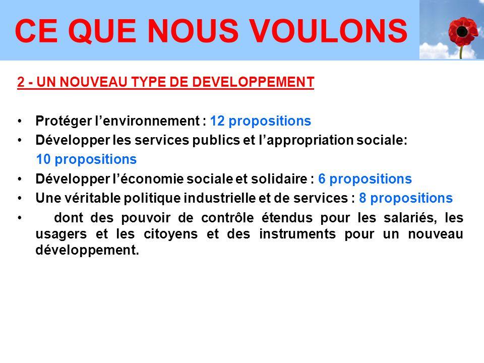 2 - UN NOUVEAU TYPE DE DEVELOPPEMENT Protéger l'environnement : 12 propositions Développer les services publics et l'appropriation sociale: 10 proposi