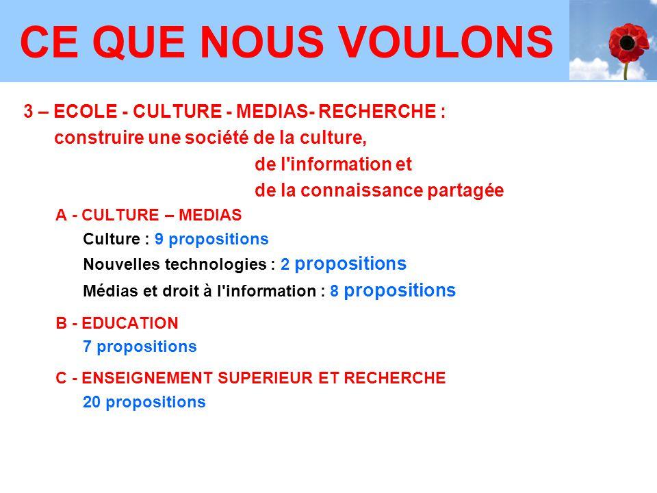 3 – ECOLE - CULTURE - MEDIAS- RECHERCHE : construire une société de la culture, de l'information et de la connaissance partagée A - CULTURE – MEDIAS C