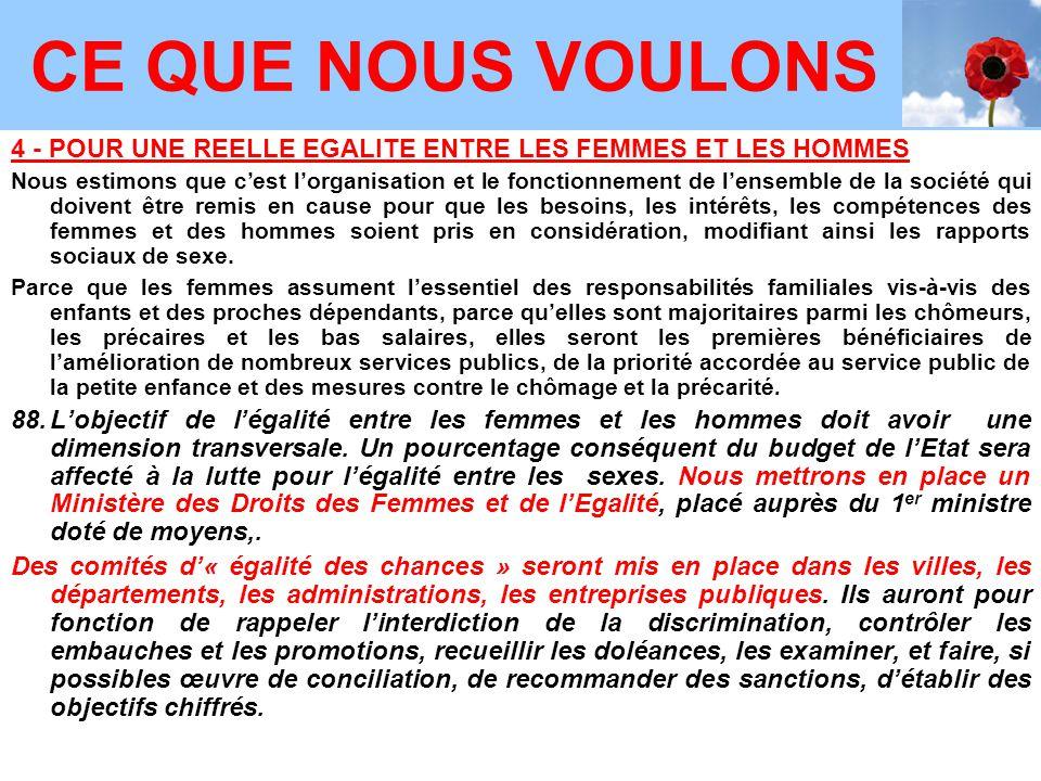 4 - POUR UNE REELLE EGALITE ENTRE LES FEMMES ET LES HOMMES Nous estimons que c'est l'organisation et le fonctionnement de l'ensemble de la société qui