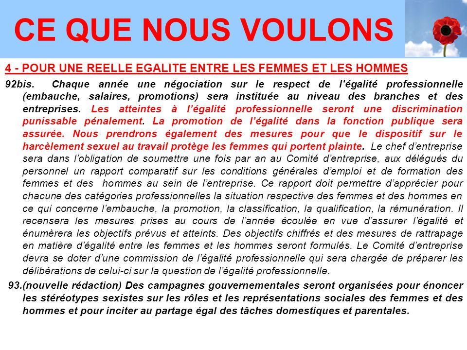 4 - POUR UNE REELLE EGALITE ENTRE LES FEMMES ET LES HOMMES 92bis.Chaque année une négociation sur le respect de l'égalité professionnelle (embauche, s