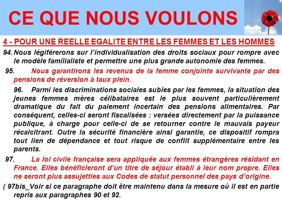 4 - POUR UNE REELLE EGALITE ENTRE LES FEMMES ET LES HOMMES 94.Nous légiférerons sur l'individualisation des droits sociaux pour rompre avec le modèle familialiste et permettre une plus grande autonomie des femmes.