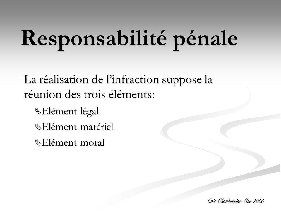 Eric Charbonnier Nov 2006 Responsabilité pénale La réalisation de l'infraction suppose la réunion des trois éléments:  Elément légal  Elément matériel  Elément moral