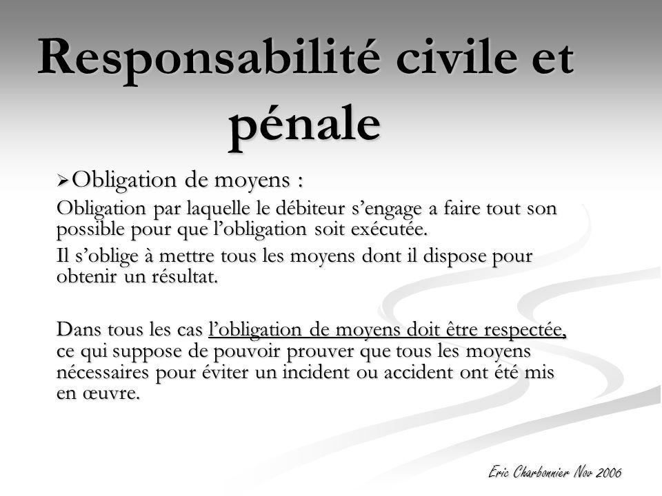 Eric Charbonnier Nov 2006 Responsabilité civile et pénale  Obligation de moyens : Obligation par laquelle le débiteur s'engage a faire tout son possible pour que l'obligation soit exécutée.