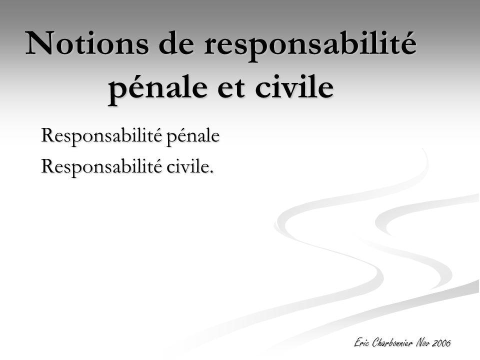 Eric Charbonnier Nov 2006 Notions de responsabilité pénale et civile Responsabilité pénale Responsabilité civile.