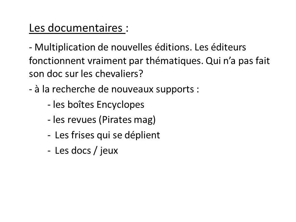Les documentaires : - Multiplication de nouvelles éditions. Les éditeurs fonctionnent vraiment par thématiques. Qui n'a pas fait son doc sur les cheva