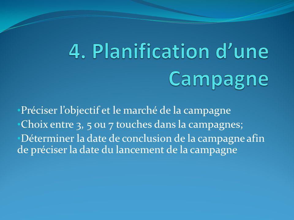 Préciser l'objectif et le marché de la campagne Choix entre 3, 5 ou 7 touches dans la campagnes; Déterminer la date de conclusion de la campagne afin de préciser la date du lancement de la campagne