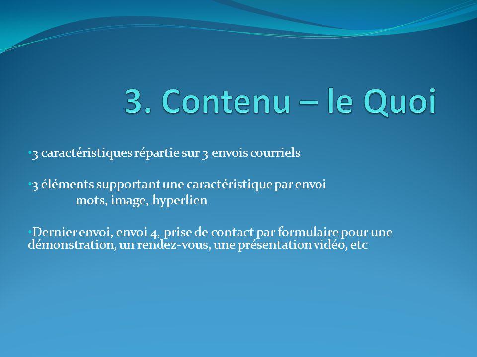 3 caractéristiques répartie sur 3 envois courriels 3 éléments supportant une caractéristique par envoi mots, image, hyperlien Dernier envoi, envoi 4, prise de contact par formulaire pour une démonstration, un rendez-vous, une présentation vidéo, etc