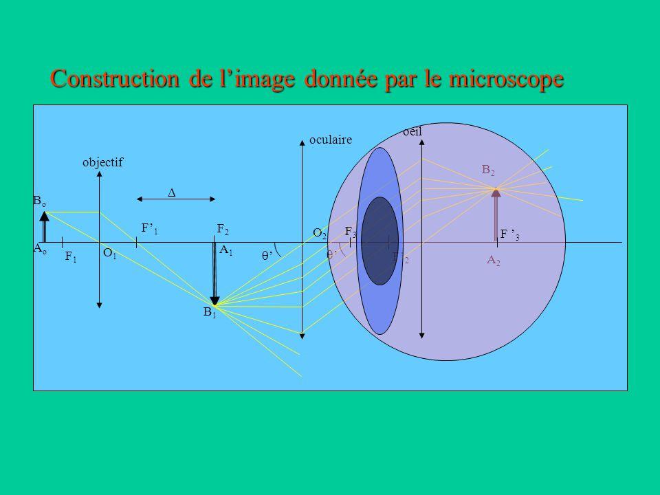 Modélisation du microscope L 'objectifL 'oculaire F ' 1 F1F1 O1O1 F ' 2 F2F2 O2O2