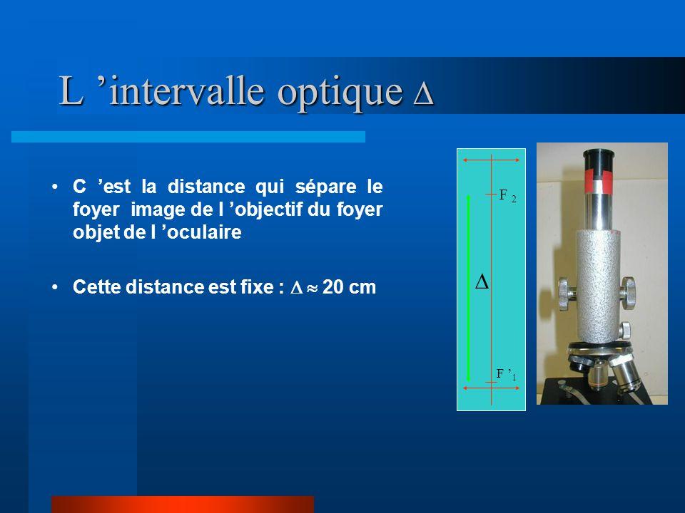 Caractéristiques d 'un microscope L 'intervalle optique  La latitude de mise au point Le cercle oculaire Le grossissement standard G