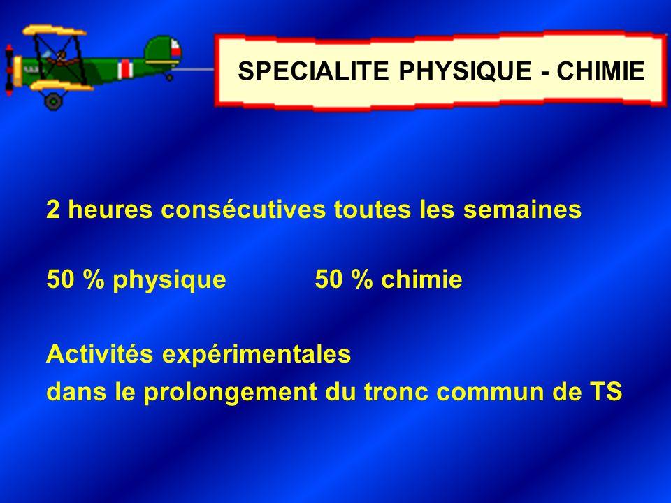 2 heures consécutives toutes les semaines 50 % physique50 % chimie Activités expérimentales dans le prolongement du tronc commun de TS SPECIALITE PHYSIQUE - CHIMIE