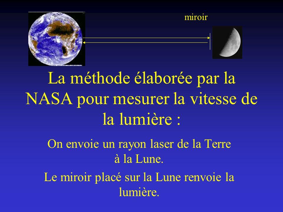 La méthode élaborée par la NASA pour mesurer la vitesse de la lumière : On envoie un rayon laser de la Terre à la Lune. Le miroir placé sur la Lune re
