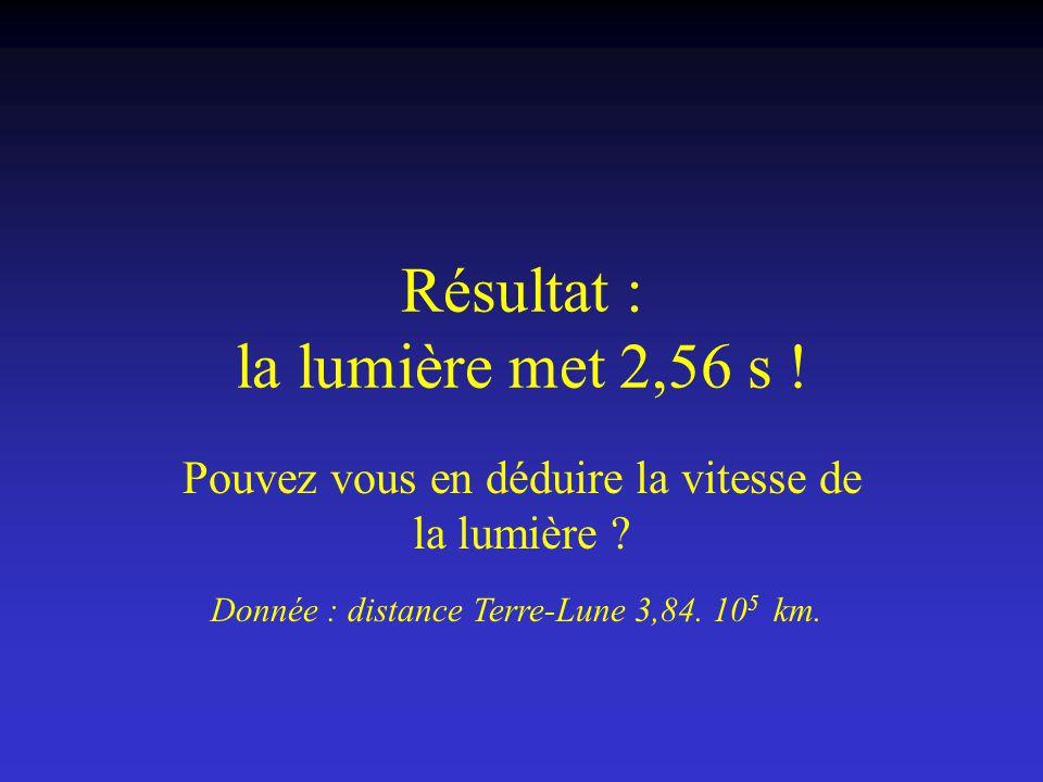 Résultat : la lumière met 2,56 s ! Pouvez vous en déduire la vitesse de la lumière ? Donnée : distance Terre-Lune 3,84. 10 5 km.