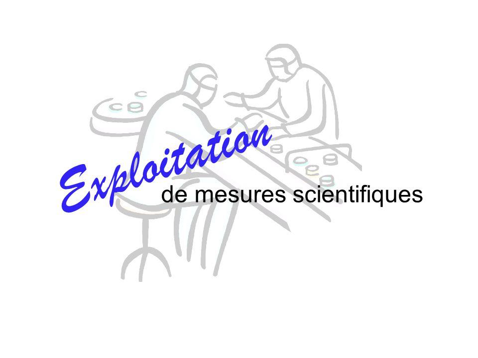 de mesures scientifiques E x p l o i t a t i o n
