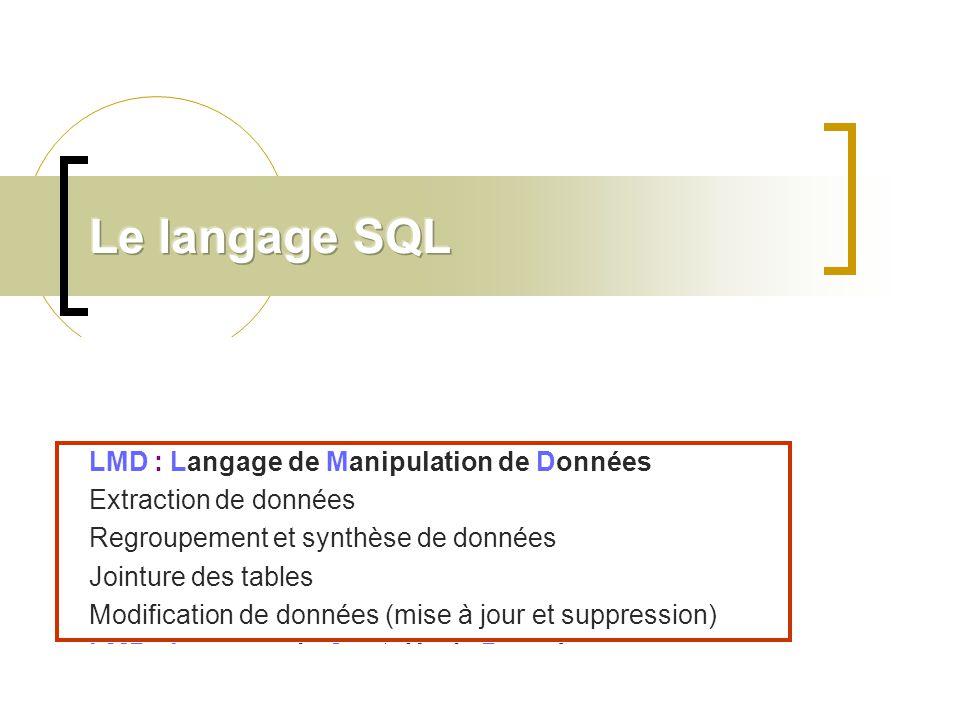 Le langage SQL 1.